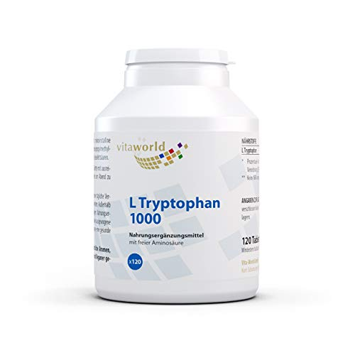 Vita World L-Tryptophan 1000mg 120 Vegetarian Tablets Made in Germany