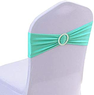 mds Pack of 25 Spandex Chair Sashes Bow sash Elastic Chair Bands Ties with Buckle for Wedding and Events Decoration Lycra Slider Sashes Bow - sea Green