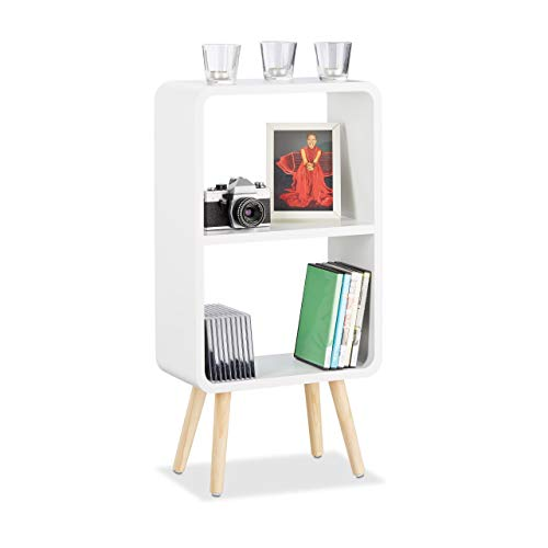 Relaxdays 2-Compartment Standing Shelf, Narrow Bookcase, Wooden Coffee Table with Legs, White