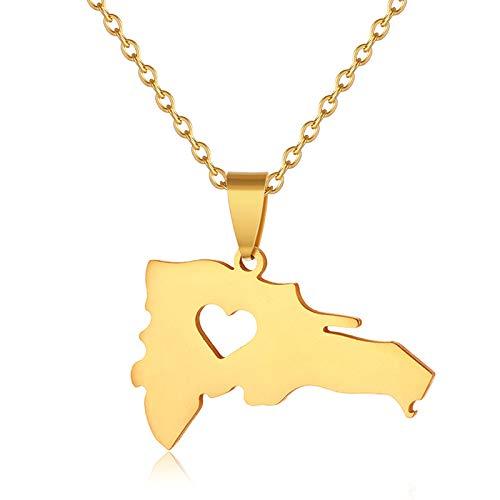 WSKTRB Collar De Mujer,Moda Oro Color Dominica País Mapa Corazón En Forma De Colgante Collares Exquisito Unisex Dominican Map Joyería Regalo Tendencia,50Cm