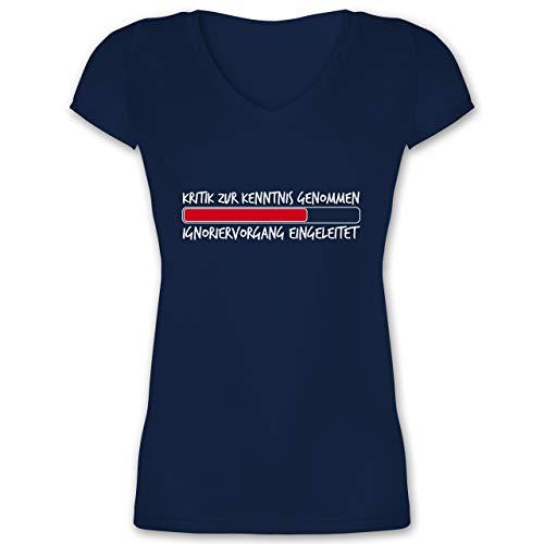 Sprüche - Kritik zur Kenntnis genommen - L - Dunkelblau - Statement - XO1525 - Damen T-Shirt mit V-Ausschnitt