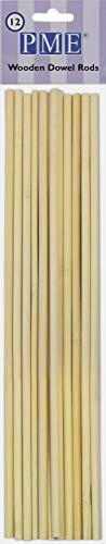 PME Holzdübelstäbe, Holz, Braun, 6 x 1 x 30 cm, 12-Einheiten