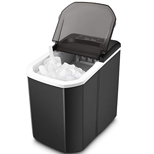 Ice Maker Nictemaw Portable Ice Maker Machine for Countertop, Ice Cubes Ready in 5-10Mins, Make 26lbs Ice in 24Hrs with LED Display and Scoop & Basket, Perfect for Home/Kitchen/Office/Bar(Black)