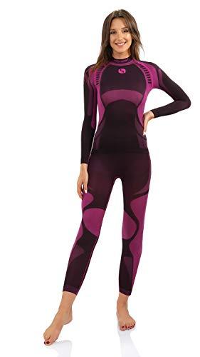 Sesto Senso® Donna Intimo Termico Impostato Maglia a Maniche Lunghe T-Shirt Funzionale e Pantaloni Lunghi Funzionale Sottopantaloni Leggings Biancheria Intima Set Termoattivo (L, Rosa)