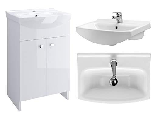 VBChome Badmöbel Weiß 60 cm Waschbecken mit Unterschrank Waschtisch Waschbeckenunterschrank Unterschrank Badezimmerschrank 2 Türen Glanz Waschplatz Stand Standmöbel