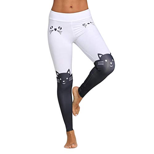 Usstore Women Yoga Athletic Pants Cat Print Workout Leggings Fitness Sports Trousers Skinny Pants (XXL)