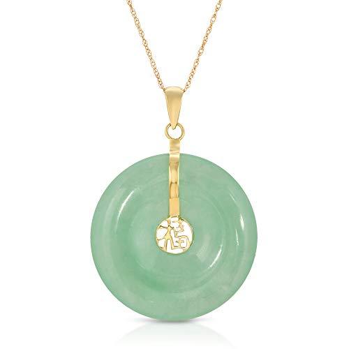 Regalia by Ulti Ramos Vintage 14K 585 Yellow Gold Natural Genuine Translucent Jadeite Jade Donut Good Luck Chinese Fu Character Pendant
