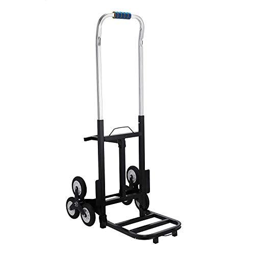 ZGYQGOO 190 kg Tragkraft Klappwagen für Treppen mit 6 Rädern Transformierbarer Treppenwagen aus Stahl für Paket 6 Räder Transport Manueller Treppensteiger, 190 kg, 1