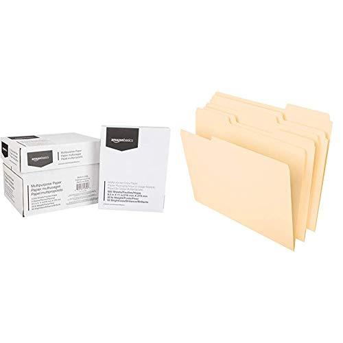 AmazonBasics Multipurpose Copy Printer Paper - White, 8.5 x 11 Inches, 5 Ream Case (2,500 Sheets) & Pendaflex File Folders, Letter Size, 8-1/2%22 x 11%22, Classic Manila, 100 Per Box