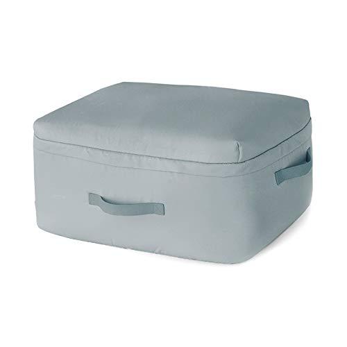 AMBH Bolsa de almacenamiento de ropa con cremalleras dobles, gruesa y de gran capacidad, tela impermeable para edredones, mantas, ropa de cama plegable rosa (color: gris, tamaño: XL (62 x 48 x 28 cm)