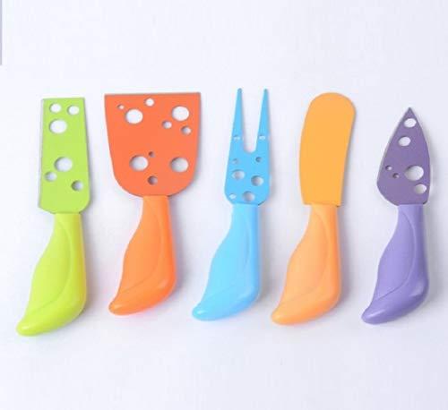 Tinra Juego de mini cuchillos para queso, 5 piezas de herramientas de cocina de acero inoxidable para queso para pastel, postre, ensalada de queso