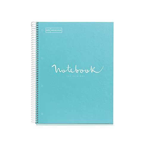 MIQUELRIUS - Cuaderno Notebook Emotions - 1 franja de color, A4, 80 Hojas con rayado horizontal 7mm, Papel 90g, 4 Taladros, Cubierta de Cartón Extraduro, Color Azul Cielo