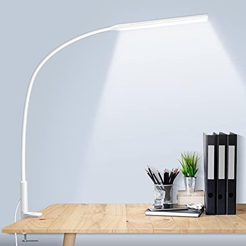 Schreibtischlampe LED, solawill 10W Schwanenhals Klemmleuchte mit 3 Farb und 10 Helligkeitsstufen Dimmbare Tischleuchte Augenschutz Architektenlampe USB Ladeanschluss für Büro,Lesen,Studieren