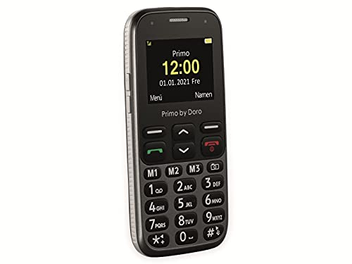 Primo 218 by Doro GSM Mobiltelefon mit großem Fardisplay, Notruftaste, Taschenlampe, Ortung, inkl. Tischladestation, Graphit, 360034