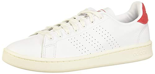 adidas Herren Advantage Tennisschuhe, FTWR Weiss/FTWR Weiss/Scarlet, 40 2/3 EU