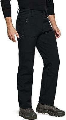 TSLA Men's Winter Waterproof Softshell Hiking Pants, Outdoor Snow Ski Fishing Fleece Lined Insulated Pants, Softshell(ykb58) - Black, Medium