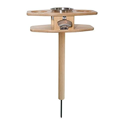 UNIhappy Mesa de vino portátil al aire libre Mesa de madera plegable Picnic Playa Jardín Bebidas
