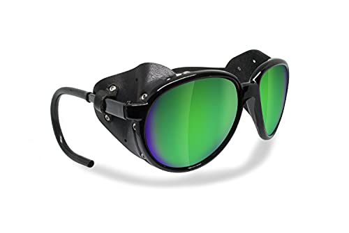 BERTONI Gafas de Sol Polarizadas de Montaña Glaciar Esqui Alpinismo Trekking - Mod. Cortina Italy – Color: Negro Brillante (Lente Humo Polarizada - Espejo Verde)