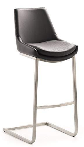 24Designs Barkruk Brett - Zithoogte 67 Cm - Zwart Kunstleer - RVS Onderstel