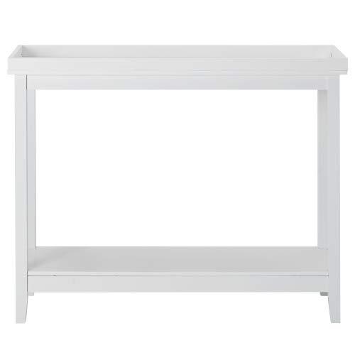 Boomersun Mesa auxiliar con estantería de madera para salón, dormitorio, pasillo, hogar (blanco)