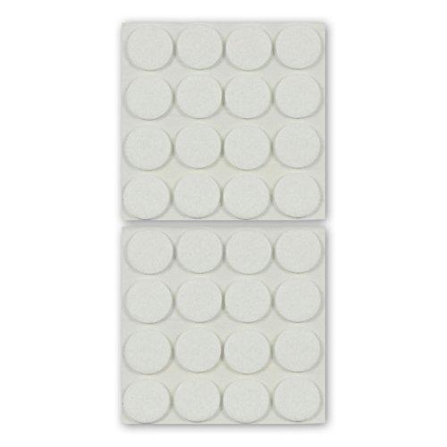 K.D.J. Brand viltglijders, meubelglijders, rond, wit, 3 mm dik, zelfklevend, hoogwaardig vilt (naaldvilt), voor stoelen, stoelpoten, tafelpoten, meubelpoten - Made in Germany