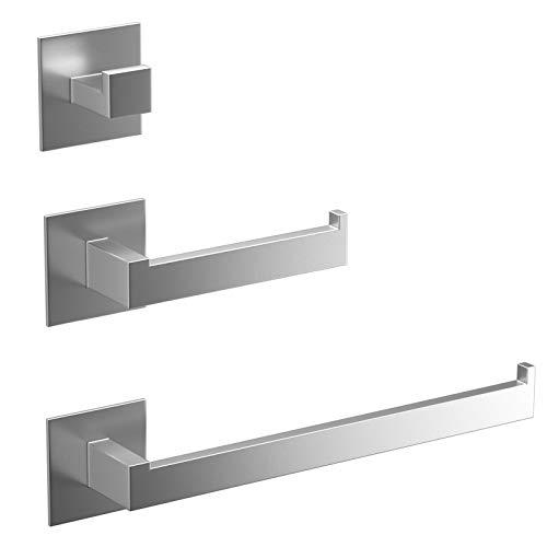 Mefine Handtuchhalter, Toilettenpapierhalter ohne Bohren Klopapierrollenhalter, Handtuchhaken Selbstklebend, 3er Set Badezimmer