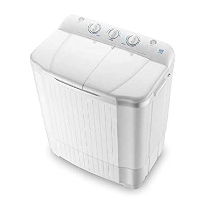WOAIM Semiautomatic Mini Twin Tub Washing Machine 7Kg Washing 5Kg Drying Compact Portable Washing Machine And Spin Dryer For Apartment, Hotel, Dorm