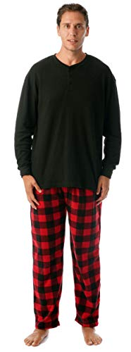 #followme Pajama Set for Men with Thermal Henley Top and Polar Fleece Pants 44909-1A-L