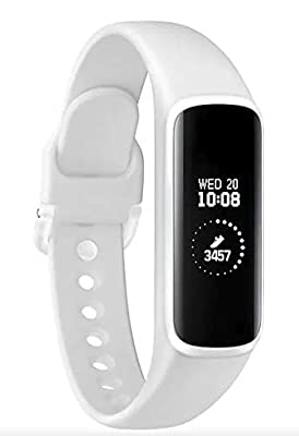 Samsung Galaxy Fit E 2019, Fitness Band, Pedometer, Heart Rate & Sleep Tracker, PMOLED Display, 5ATM Water Resistance, MIL-STD-810G, Bluetooth Active SM-R375 - International Version (White)
