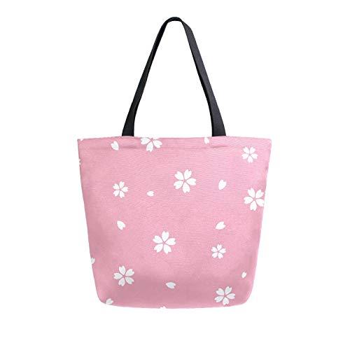 JinDoDo Canvas Bag Cherry Bloosom Petal Reusable Tote Bag Women Handbag for Shopping Travel Beach School