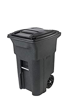 Toter 025564-R1GRS Residential Heavy Duty 2-Wheeled Trash Can with Attached Lid 64-Gallon Greenstone