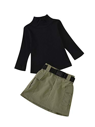 Kleinkind Baby Mädchen Gestrickt Langarm Tops Rollkragenpullover + Kurze Röcke + Gürtel Kinder Mädchen 3Pcs Herbst Outfits Set
