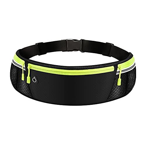 Waist Pack Bag Hip Bag Runner Pouch Belt Workout Fanny Pack Jogging Pocket Belt Cell Phone Holder Adjustable Sports Money Belt with Headphone Port for Men and Women,Black2