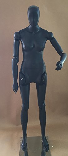 "5' 9"" Tall 31"" 24"" 34"" Completely Posable Female Mannequin Can Sit or Stand (FF1 Black) Made By OM«"