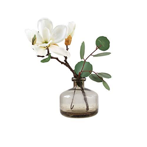 Blumensträuße aus Kunststoff Künstliche Phalaenopsis-Pflanze Steht 11.8inch hoch, künstliche Blume mit Glasvase, künstliche Orchideenblüten aus Seidentuch Gefälschte Blumensträuße