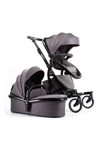 SNOOZY ONE - Cochecito 2 en 1 con capazo para bebé + asiento deportivo, muy bien amortiguado, alta calidad, muchas posibilidades de ajuste, fácil y rápido de abrir y cerrar, color gris oscuro
