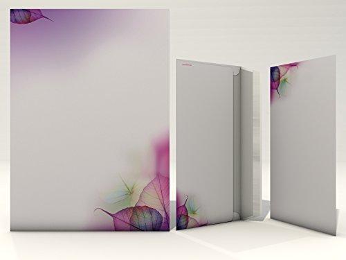 Briefpapier Set | Magic Leaves | 20 Blatt Malerisches Motivpapier A4 | 20 Briefumschläge OHNE FENSTER im DIN LANG-Format