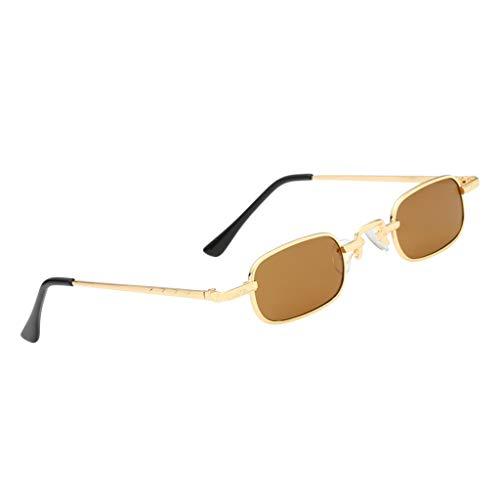 Harilla Gafas de Sol de Montura Cuadrada Pequeñas con Tapa Plana para Mujer para Hombre, Sombra de Moda en 7 Colores - Lente Marrón Marco Dorado, tal como se describe