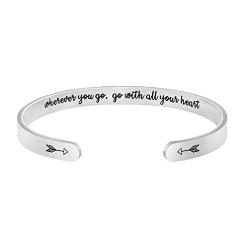Joycuff Wherever You Go, Go with All Your Heart Inspirational Graduation Gifts for Women Retirement Jewelry for Her Mantra Cuff Bracelet