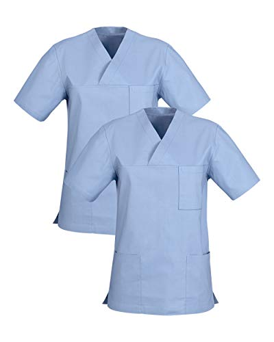 CLINIC DRESS Schlupfkasack Doppelpack Kasacks für Damen und Herren in 100% Baumwolle Light Blue M