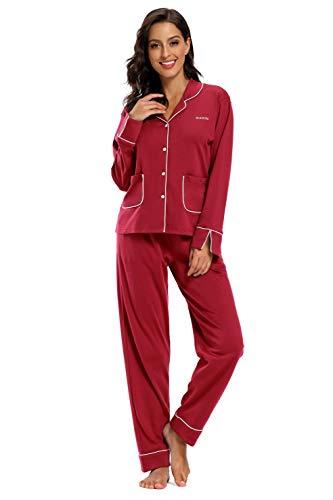 SHEKINI Pigiama da Donna in Cotone Manica Lunga con Bottoni Stile Semplice Morbido e Confortevole Invernale(Rosso Vino,S)