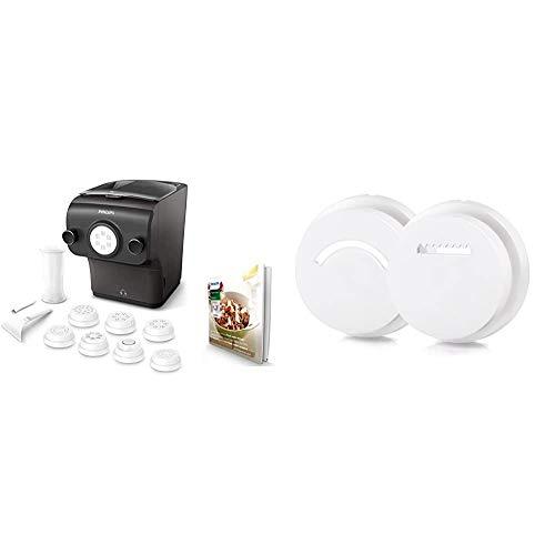 Philips HR2382/15 Avance Collection Macchina per Preparare Pasta Fresca con Bilancia Integrata, Programmi Automatici, 8 Trafile per Pasta, 200 W & HR2455 / 09 Inserti stampati Stampi per biscotti