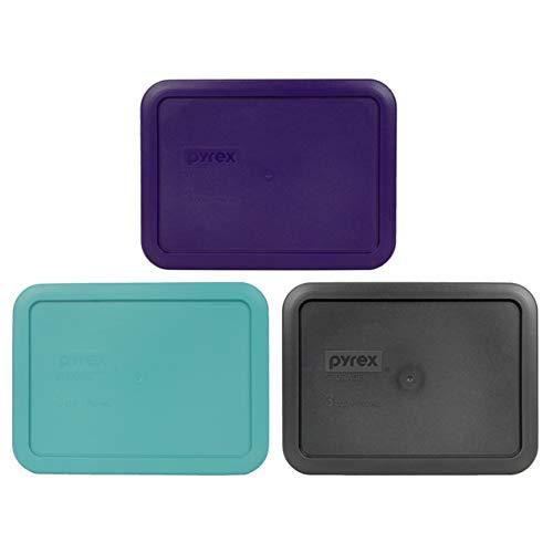 Pyrex 7210-PC 3 Cup (1) Purple (1) Turquoise (1) Charcoal Grey Rectangle Plastic Lids