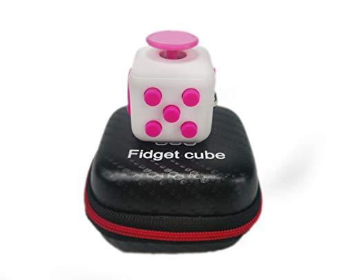 Juyi Fidget Cube mit Hülle Schreibtisch-Spielzeug Klicker Joystick-Tasten zum Stressabbau, bei Angst, zum Konzentrieren ADHD Autismus Erwachsene Kinder Studenten Büro Geschenk, 8?Pink White