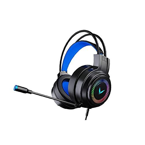 ELXSZJ XTZJ Auriculares de Juego sobre oído por Cable - Jugador de la computadora Gamer sobre el Control de Volumen de micrófono Flexible de oído con micrófono