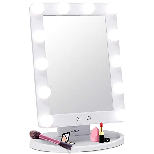 Makeup Vanity Mirror with Light Bulbs - 3 Color Lighting Modes Hollywood Style Tabletops Lighted Cosmetic Mirror with 12 Dimmable LED Bulbs and Touch Control Design