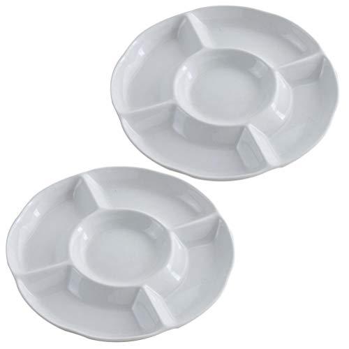 UPKOCH 2 Stück Geteilte Platte Tablett 5 Fach Geteilte Teller Snackbehälter für Home Party