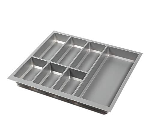 noveo Besteckkasten für Schubladen - Silber metallic | 500er Korpustiefe - passgenau für Nobilia UVM (473,5 x 493mm (60er Korpusbreite))