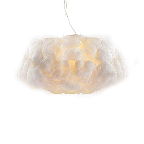 Injuicy Lighting Modern Led Pendant Lights Fixture Ceiling Hanging Lamps Shades Cotton Cloud Chandeliers for Girls Children's Rooms Living Room Bedrooms Decoration Gift (Dia. 19.69 inch White Light)
