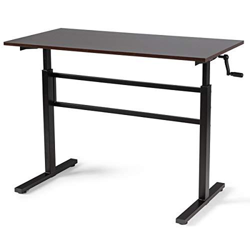 COSTWAY Schreibtisch Arbeitstisch mit Kurbel, Computertisch höhenverstellbar, Stehtisch für Arbeitszimmer Zuhause 120x60x75-113cm